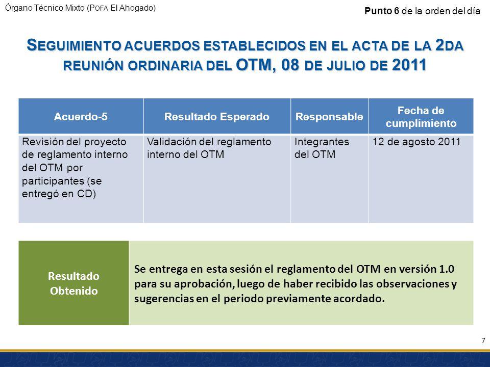 Órgano Técnico Mixto (P OFA El Ahogado) S EGUIMIENTO ACUERDOS ESTABLECIDOS EN EL ACTA DE LA 2 DA REUNIÓN ORDINARIA DEL OTM, 08 DE JULIO DE 2011 Acuerd