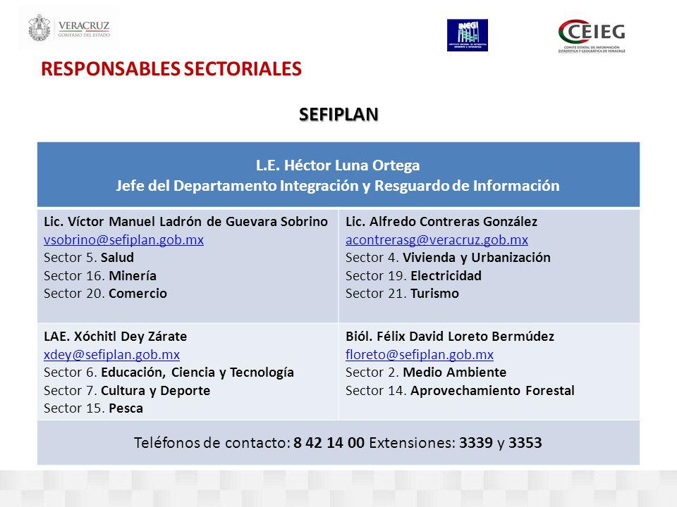RESPONSABLES SECTORIALESSEFIPLAN L.E.