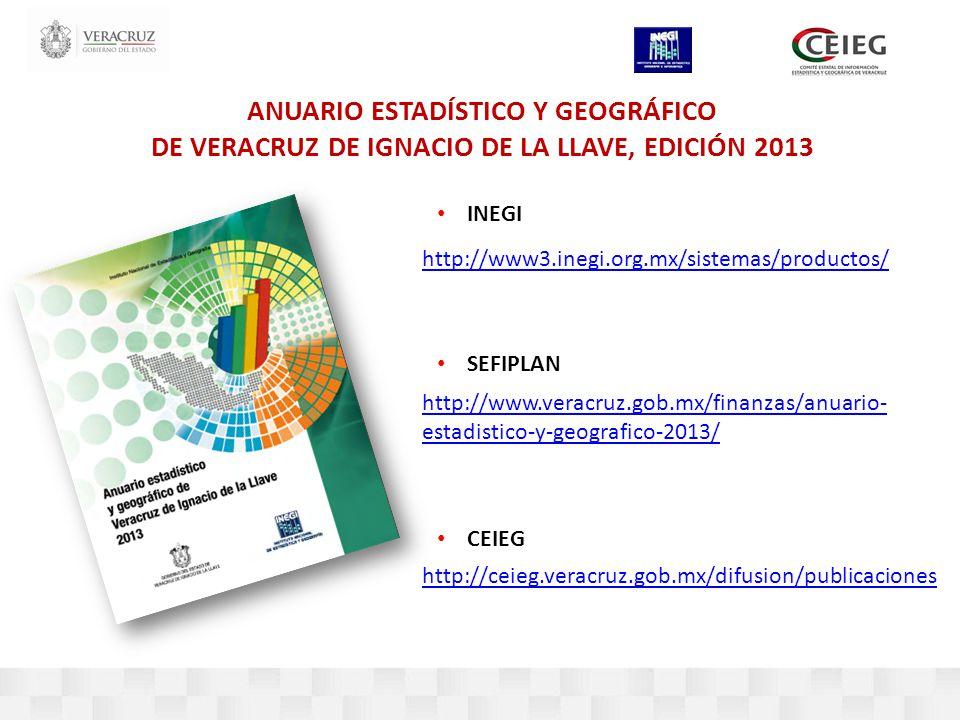 http://www3.inegi.org.mx/sistemas/productos/ http://www.veracruz.gob.mx/finanzas/anuario- estadistico-y-geografico-2013/ http://ceieg.veracruz.gob.mx/difusion/publicaciones ANUARIO ESTADÍSTICO Y GEOGRÁFICO DE VERACRUZ DE IGNACIO DE LA LLAVE, EDICIÓN 2013 INEGI SEFIPLAN CEIEG
