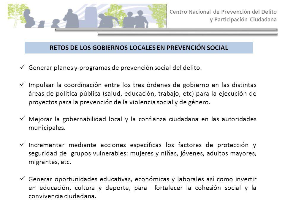 RETOS DE LOS GOBIERNOS LOCALES EN PREVENCIÓN SOCIAL Centro Nacional de Prevención del Delito y Participación Ciudadana Generar planes y programas de p