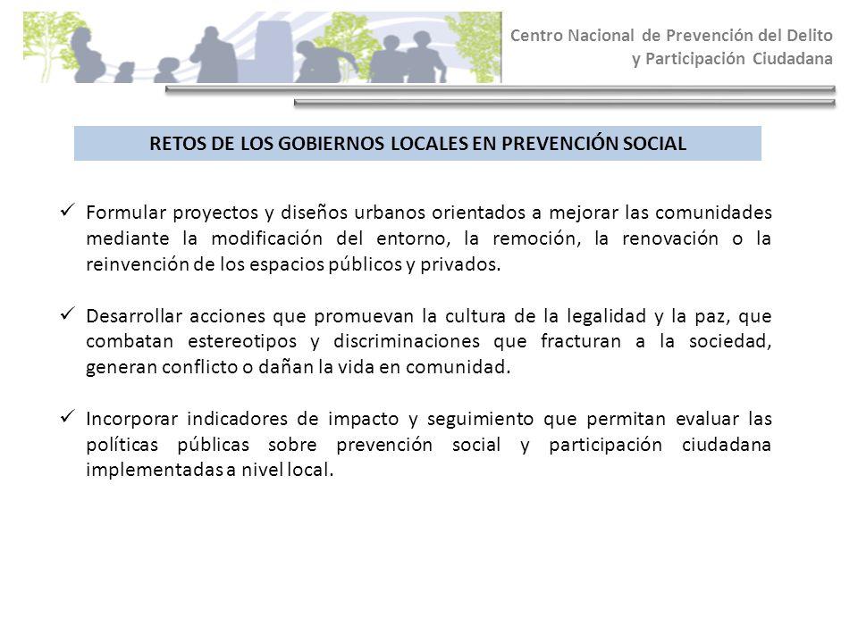 RETOS DE LOS GOBIERNOS LOCALES EN PREVENCIÓN SOCIAL Centro Nacional de Prevención del Delito y Participación Ciudadana Formular proyectos y diseños ur