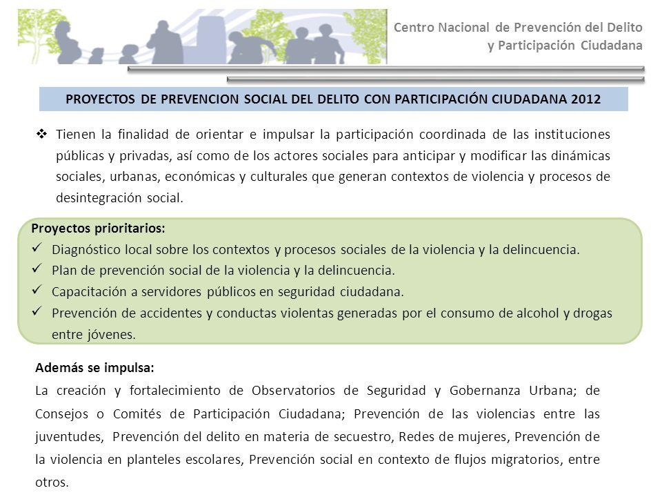 Centro Nacional de Prevención del Delito y Participación Ciudadana PROYECTOS DE PREVENCION SOCIAL DEL DELITO CON PARTICIPACIÓN CIUDADANA 2012 Tienen l