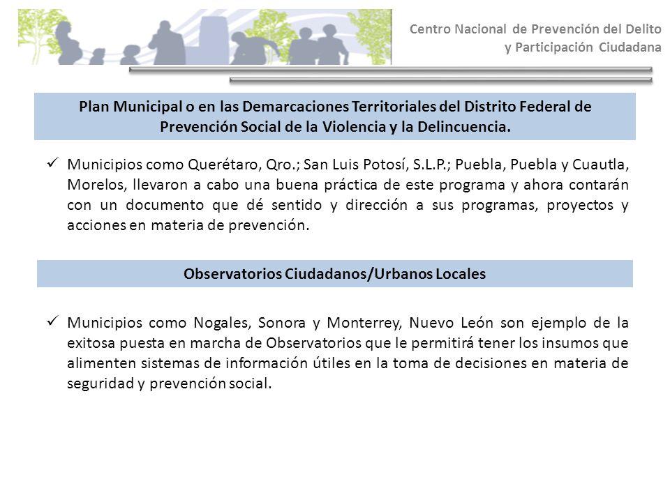 Centro Nacional de Prevención del Delito y Participación Ciudadana Plan Municipal o en las Demarcaciones Territoriales del Distrito Federal de Prevenc