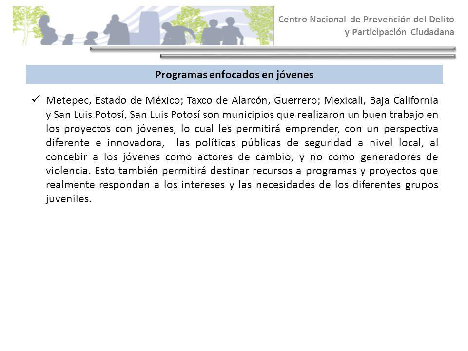 Centro Nacional de Prevención del Delito y Participación Ciudadana Programas enfocados en jóvenes Metepec, Estado de México; Taxco de Alarcón, Guerrer