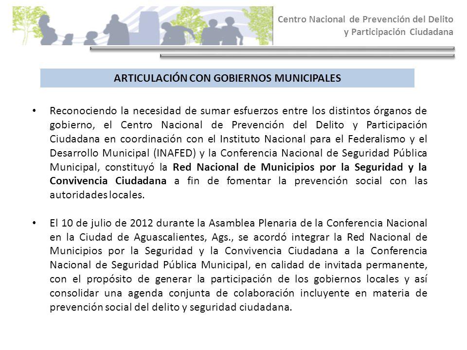 ARTICULACIÓN CON GOBIERNOS MUNICIPALES Centro Nacional de Prevención del Delito y Participación Ciudadana Reconociendo la necesidad de sumar esfuerzos