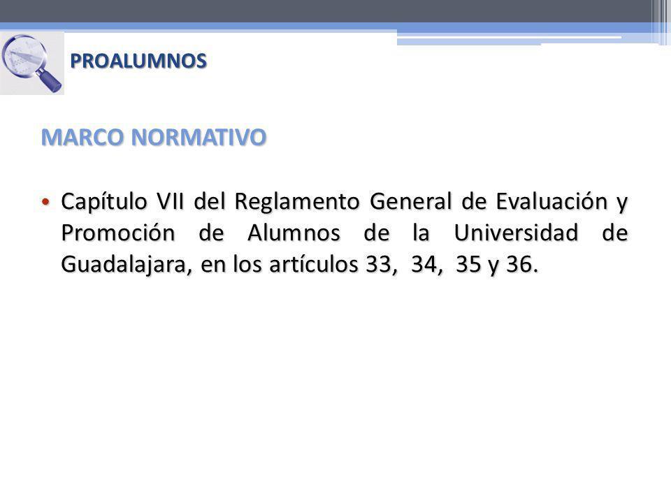 Capítulo VII del Reglamento General de Evaluación y Promoción de Alumnos de la Universidad de Guadalajara, en los artículos 33, 34, 35 y 36. Capítulo