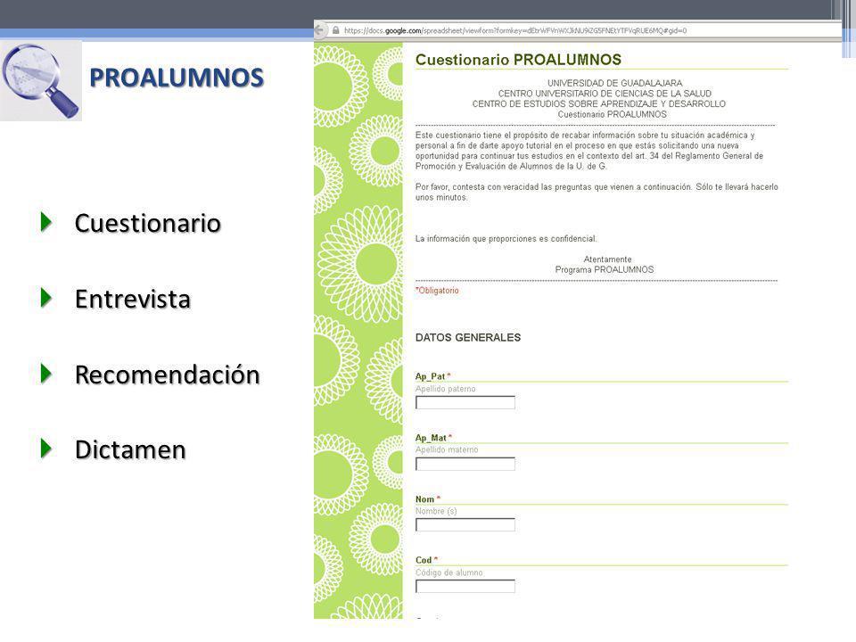PROALUMNOS Cuestionario Cuestionario Entrevista Entrevista Recomendación Recomendación Dictamen Dictamen