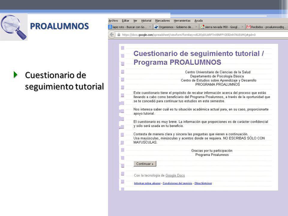 PROALUMNOS Cuestionario de seguimiento tutorial Cuestionario de seguimiento tutorial