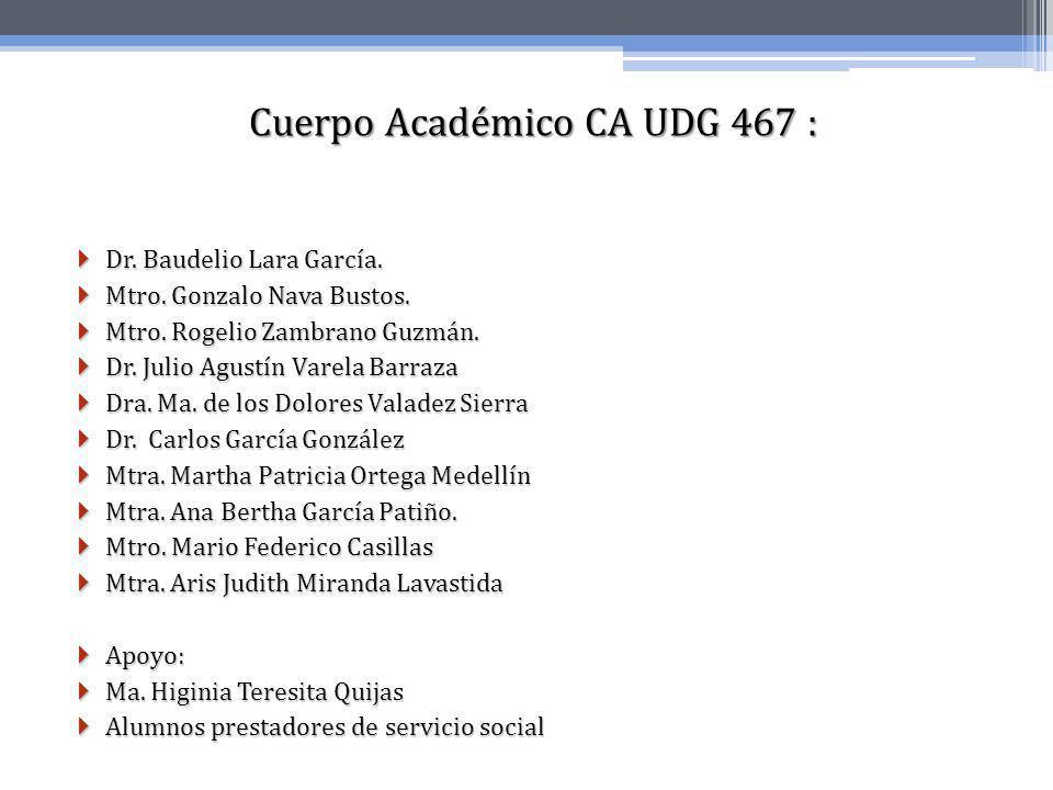 Cuerpo Académico CA UDG 467 : Dr. Baudelio Lara García. Dr. Baudelio Lara García. Mtro. Gonzalo Nava Bustos. Mtro. Gonzalo Nava Bustos. Mtro. Rogelio