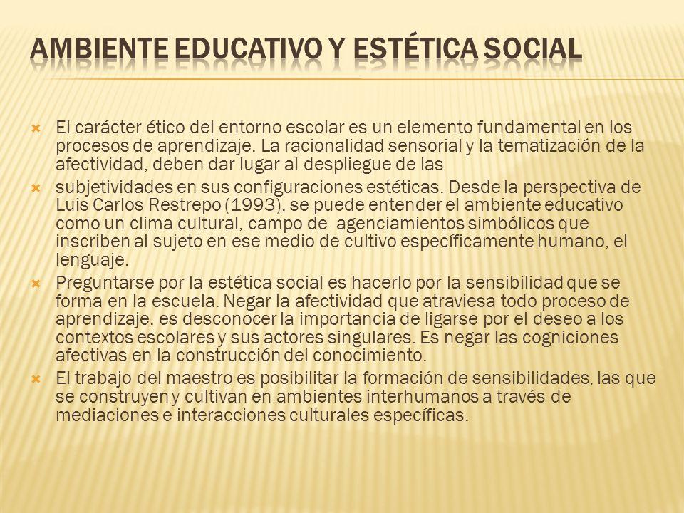 El carácter ético del entorno escolar es un elemento fundamental en los procesos de aprendizaje. La racionalidad sensorial y la tematización de la afe