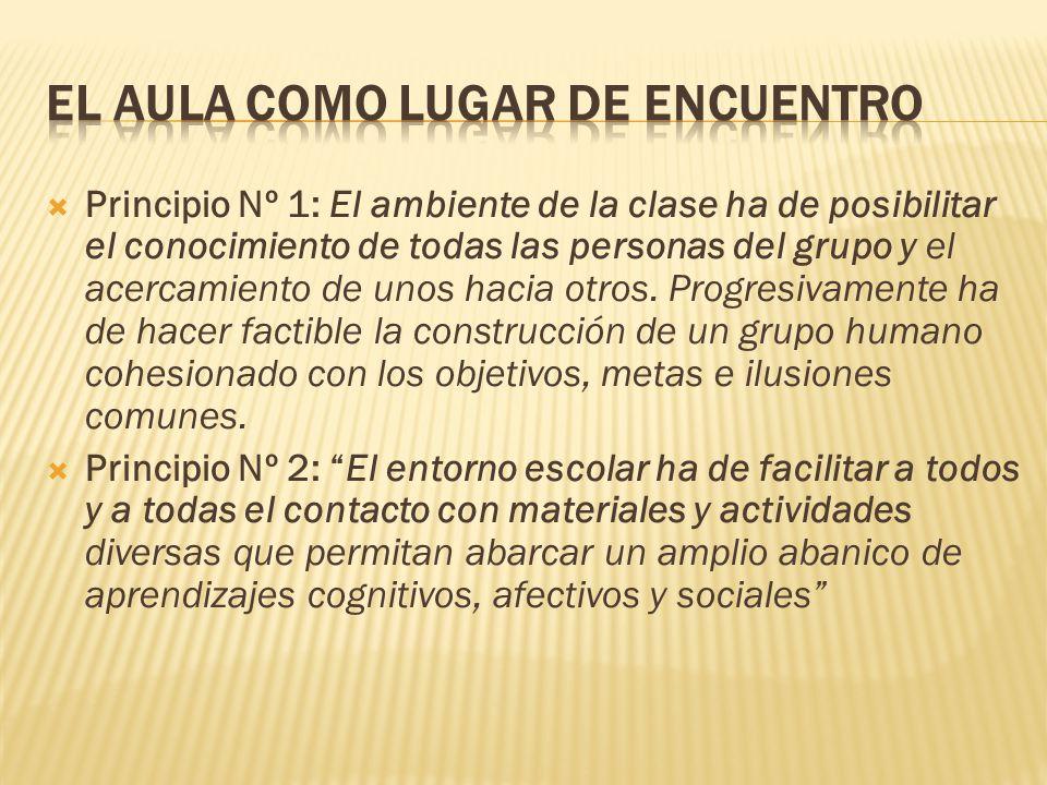 Principio Nº 1: El ambiente de la clase ha de posibilitar el conocimiento de todas las personas del grupo y el acercamiento de unos hacia otros. Progr