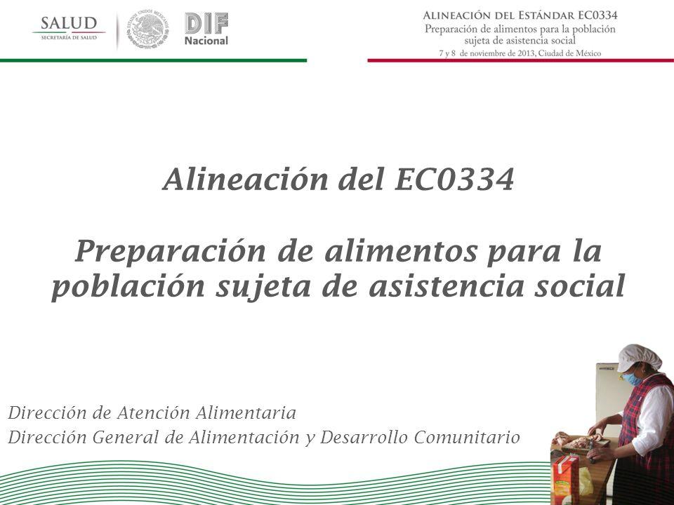 Dirección de Atención Alimentaria Dirección General de Alimentación y Desarrollo Comunitario Alineación del EC0334 Preparación de alimentos para la po