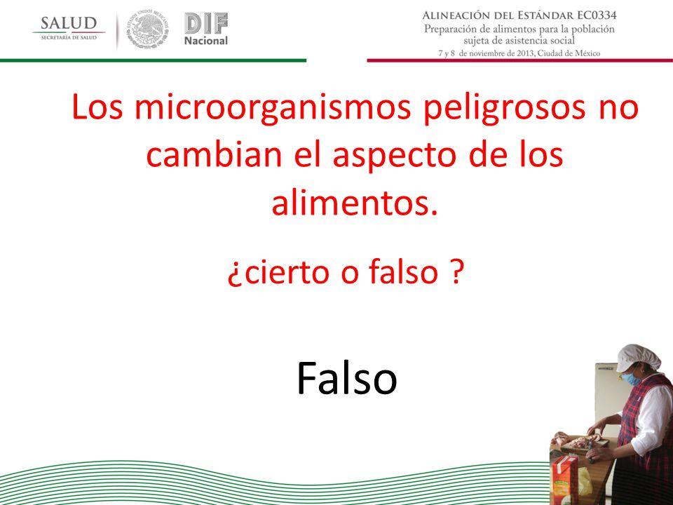 Los microorganismos peligrosos no cambian el aspecto de los alimentos. ¿cierto o falso ? Falso