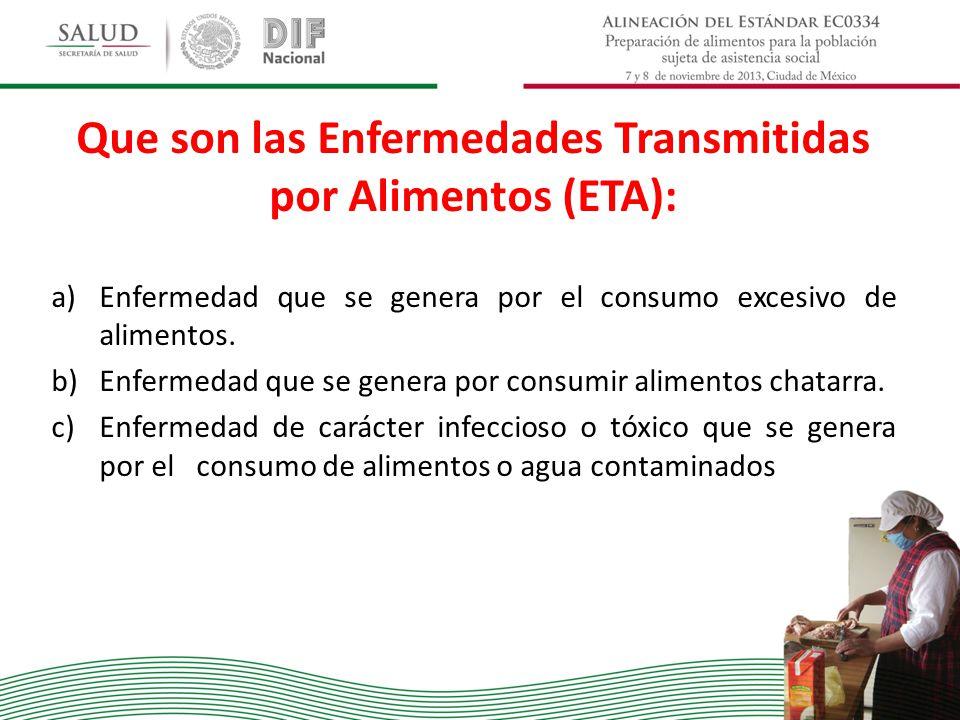 Que son las Enfermedades Transmitidas por Alimentos (ETA): a)Enfermedad que se genera por el consumo excesivo de alimentos. b)Enfermedad que se genera