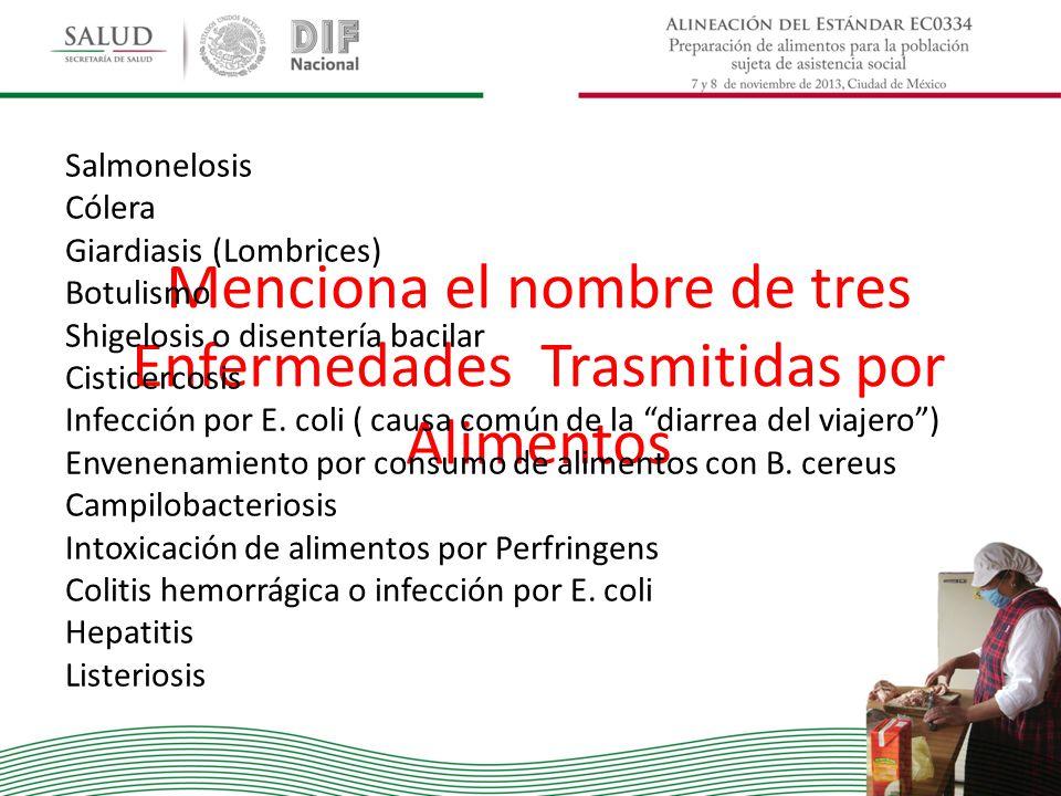Salmonelosis Cólera Giardiasis (Lombrices) Botulismo Shigelosis o disentería bacilar Cisticercosis Infección por E. coli ( causa común de la diarrea d