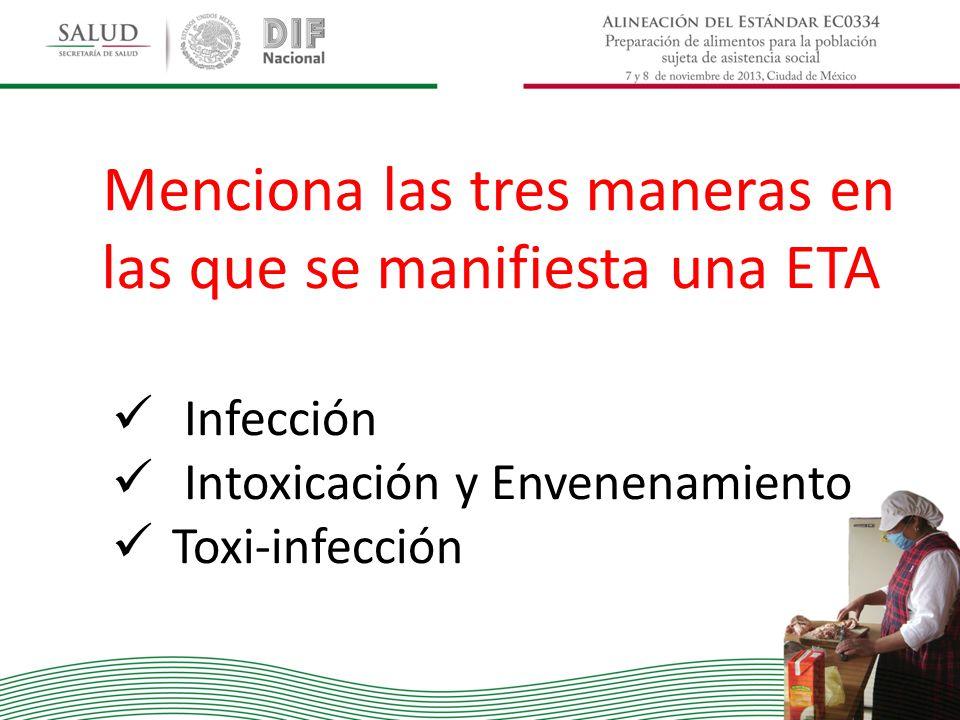 Menciona las tres maneras en las que se manifiesta una ETA Infección Intoxicación y Envenenamiento Toxi-infección