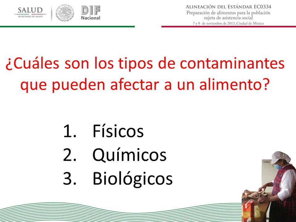 ¿Cuáles son los tipos de contaminantes que pueden afectar a un alimento? 1.Físicos 2.Químicos 3.Biológicos