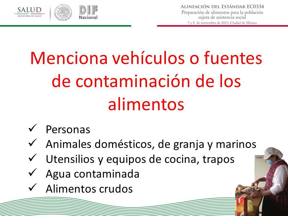 Menciona vehículos o fuentes de contaminación de los alimentos Personas Animales domésticos, de granja y marinos Utensilios y equipos de cocina, trapo