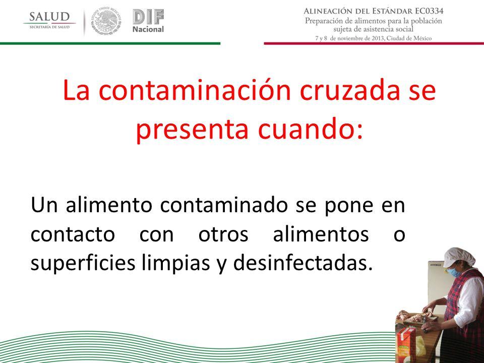 La contaminación cruzada se presenta cuando: Un alimento contaminado se pone en contacto con otros alimentos o superficies limpias y desinfectadas.