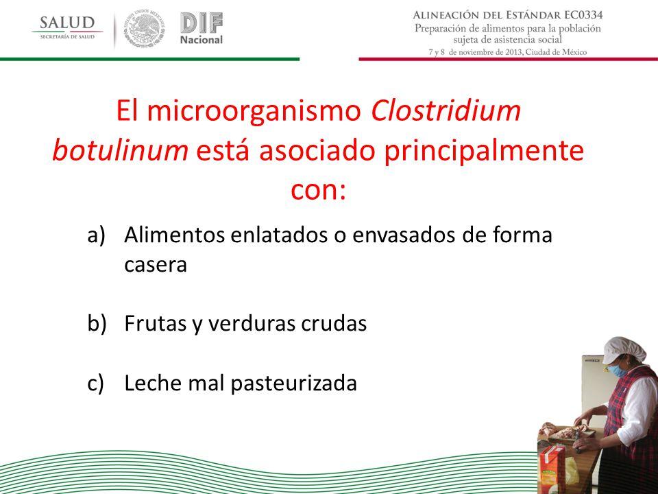 El microorganismo Clostridium botulinum está asociado principalmente con: a)Alimentos enlatados o envasados de forma casera b)Frutas y verduras crudas