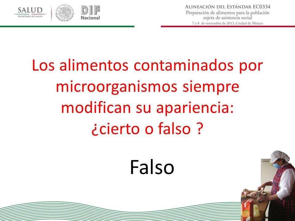 Los alimentos contaminados por microorganismos siempre modifican su apariencia: ¿cierto o falso ? Falso