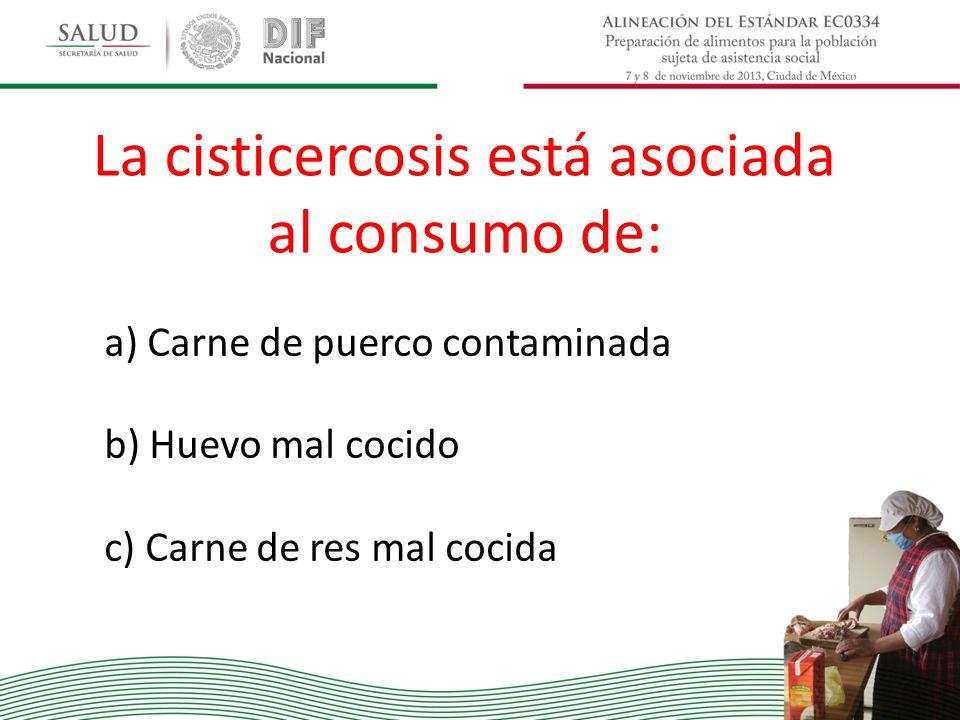 La cisticercosis está asociada al consumo de: a) Carne de puerco contaminada b) Huevo mal cocido c) Carne de res mal cocida