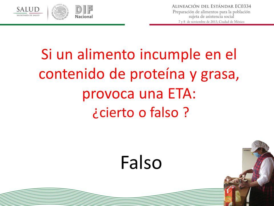 Si un alimento incumple en el contenido de proteína y grasa, provoca una ETA: ¿cierto o falso ? Falso
