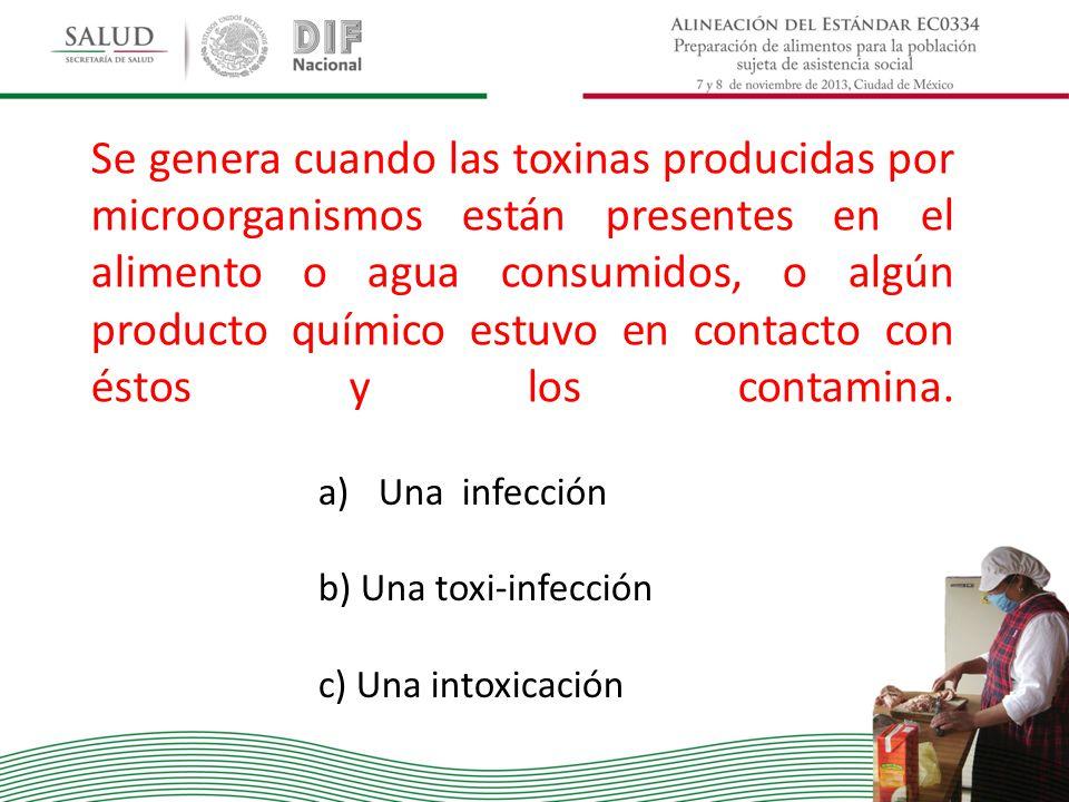 Se genera cuando las toxinas producidas por microorganismos están presentes en el alimento o agua consumidos, o algún producto químico estuvo en conta