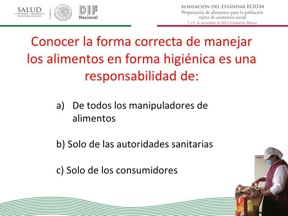 Conocer la forma correcta de manejar los alimentos en forma higiénica es una responsabilidad de: a)De todos los manipuladores de alimentos b) Solo de