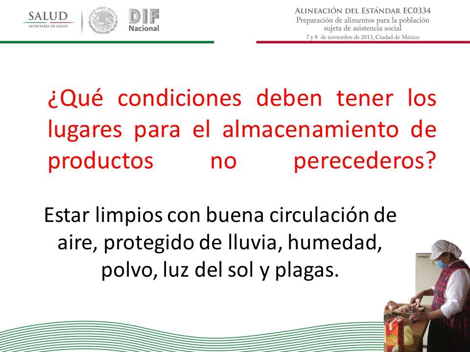 ¿Qué condiciones deben tener los lugares para el almacenamiento de productos no perecederos? Estar limpios con buena circulación de aire, protegido de