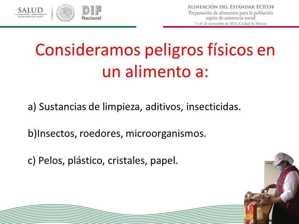 Consideramos peligros físicos en un alimento a: a) Sustancias de limpieza, aditivos, insecticidas. b)Insectos, roedores, microorganismos. c) Pelos, pl