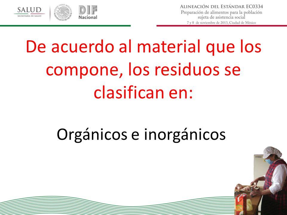 De acuerdo al material que los compone, los residuos se clasifican en: Orgánicos e inorgánicos