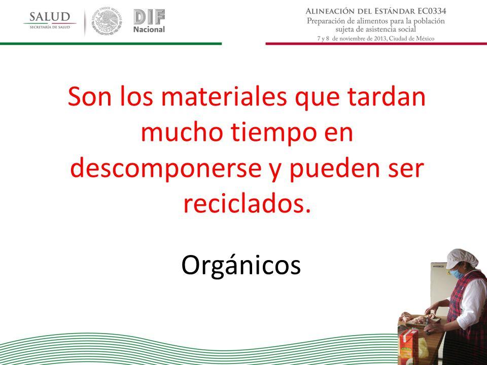Son los materiales que tardan mucho tiempo en descomponerse y pueden ser reciclados. Orgánicos