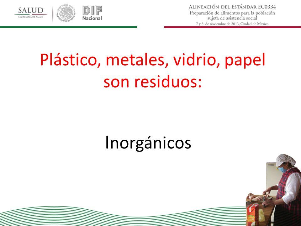 Plástico, metales, vidrio, papel son residuos: I norgánicos