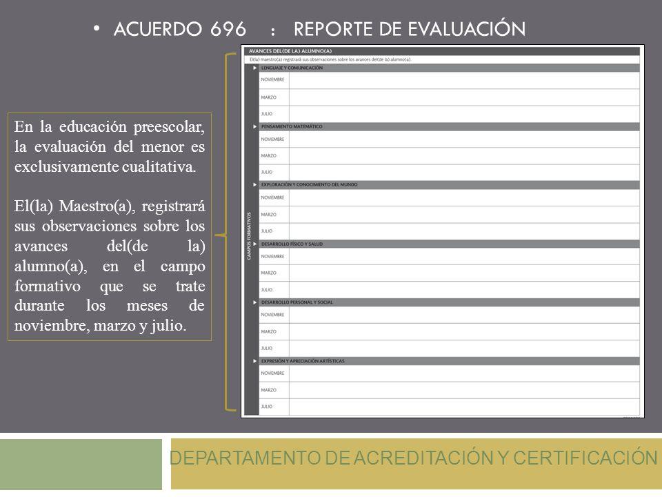 ACUERDO 696 : REPORTE DE EVALUACIÓN En la educación preescolar, la evaluación del menor es exclusivamente cualitativa. El(la) Maestro(a), registrará s