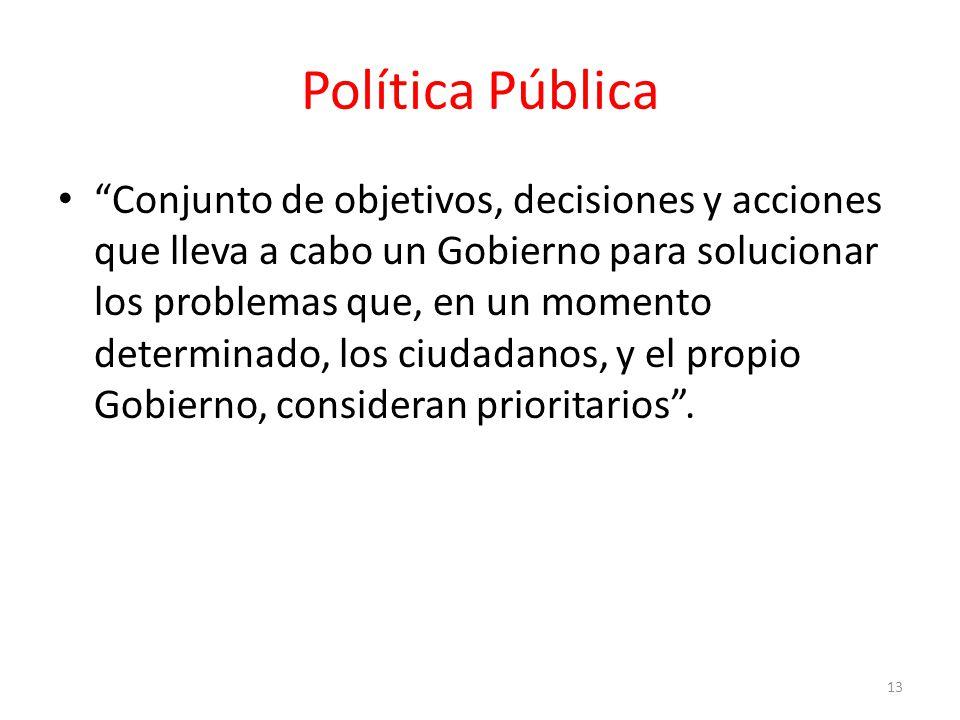 Política Pública Conjunto de objetivos, decisiones y acciones que lleva a cabo un Gobierno para solucionar los problemas que, en un momento determinado, los ciudadanos, y el propio Gobierno, consideran prioritarios.