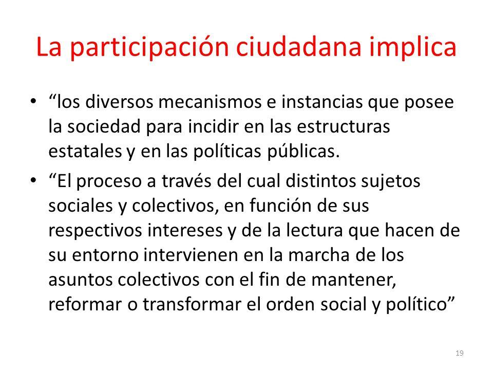 La participación ciudadana implica los diversos mecanismos e instancias que posee la sociedad para incidir en las estructuras estatales y en las políticas públicas.