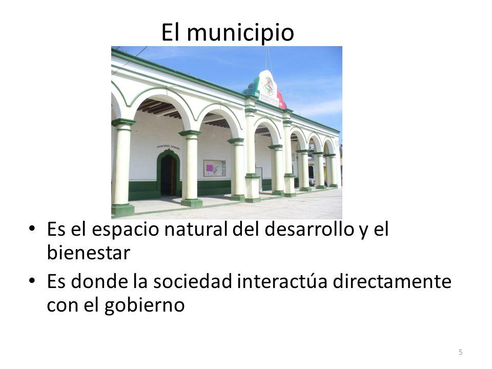 El municipio Es el espacio natural del desarrollo y el bienestar Es donde la sociedad interactúa directamente con el gobierno 5