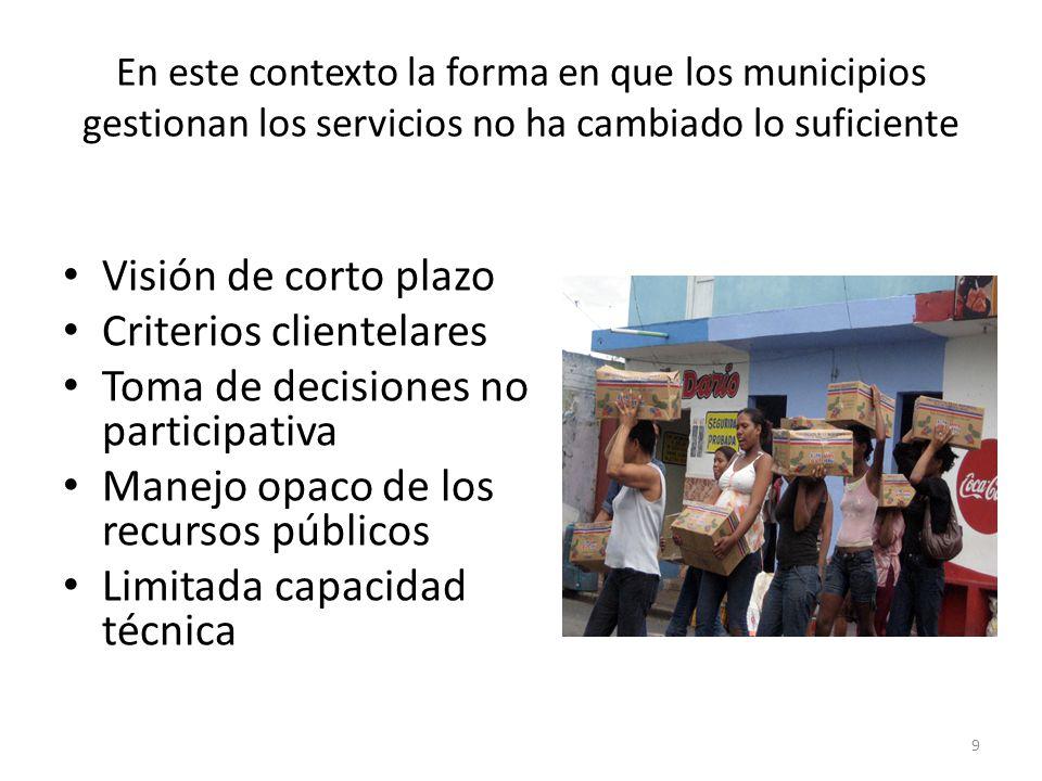 En este contexto la forma en que los municipios gestionan los servicios no ha cambiado lo suficiente Visión de corto plazo Criterios clientelares Toma de decisiones no participativa Manejo opaco de los recursos públicos Limitada capacidad técnica 9