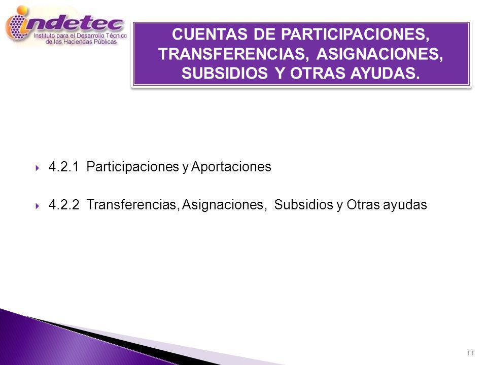 4.2.1 Participaciones y Aportaciones 4.2.2 Transferencias, Asignaciones, Subsidios y Otras ayudas 11 CUENTAS DE PARTICIPACIONES, TRANSFERENCIAS, ASIGNACIONES, SUBSIDIOS Y OTRAS AYUDAS.