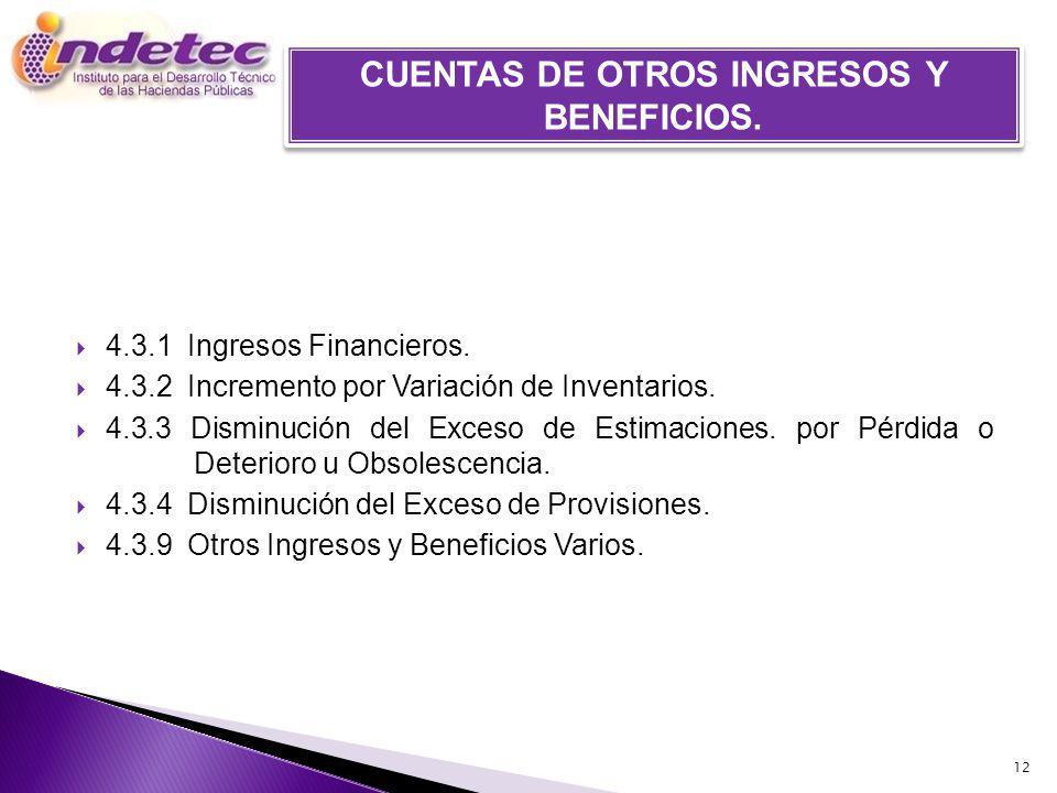 4.3.1 Ingresos Financieros.4.3.2 Incremento por Variación de Inventarios.