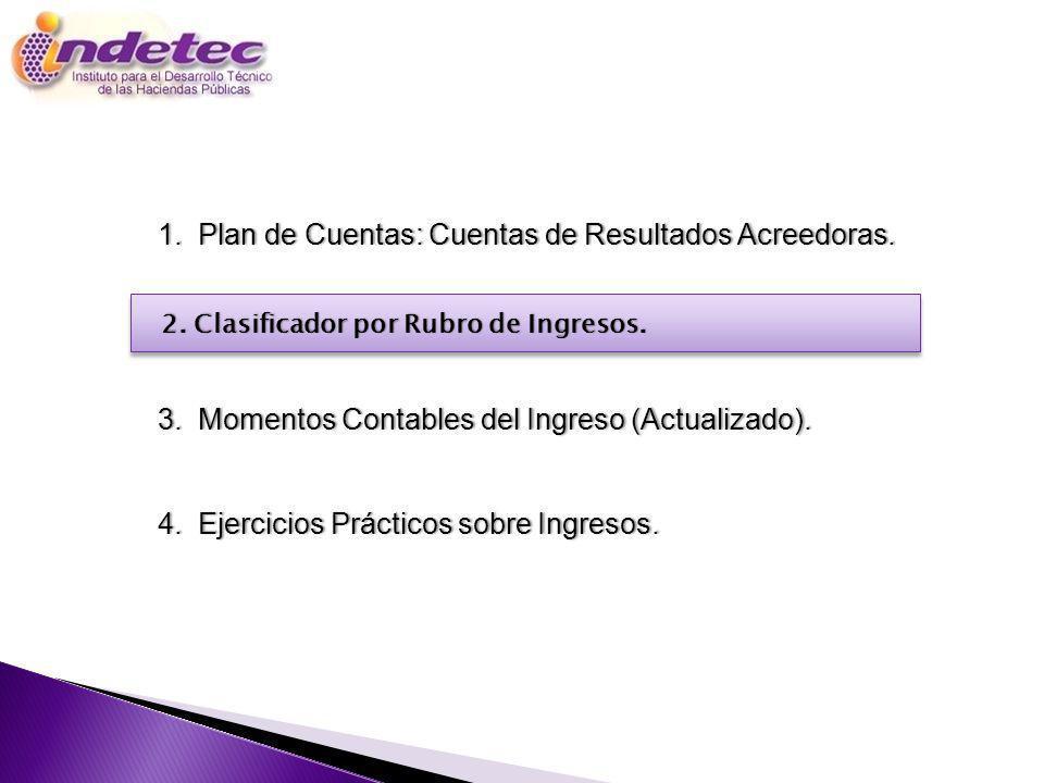 Programa 1. Plan de Cuentas: Cuentas de Resultados Acreedoras.1. Plan de Cuentas: Cuentas de Resultados Acreedoras. 3. Momentos Contables del Ingreso