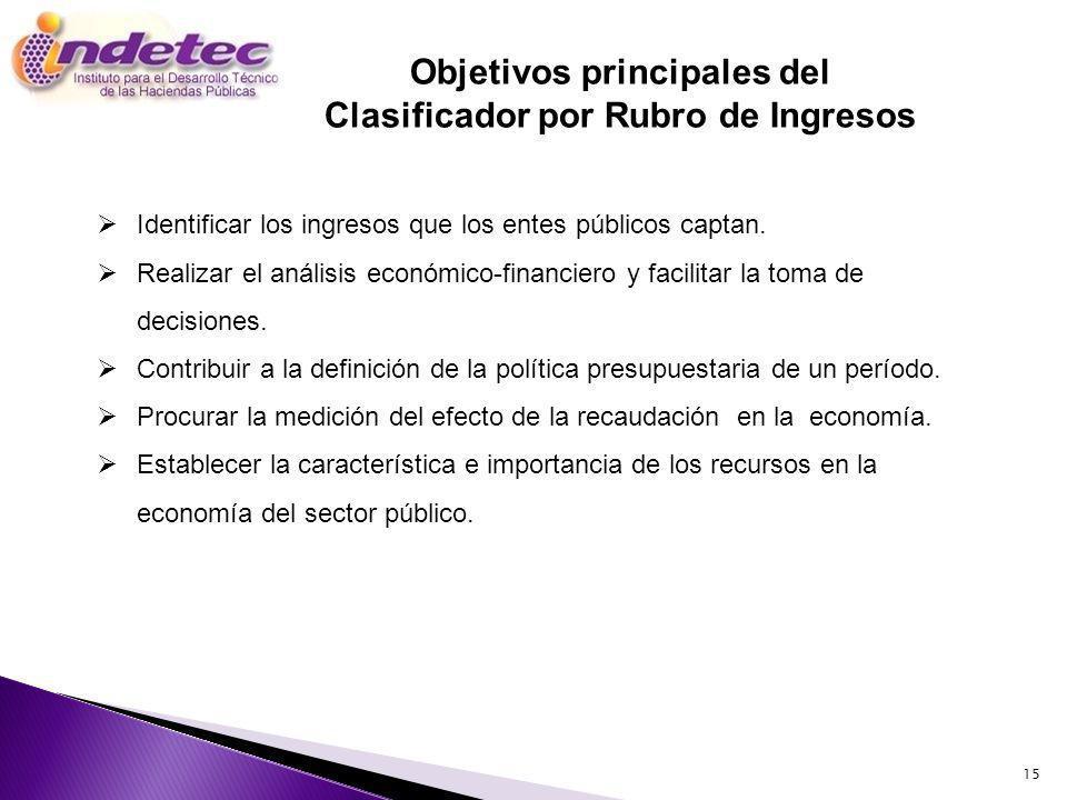15 Objetivos principales del Clasificador por Rubro de Ingresos Identificar los ingresos que los entes públicos captan. Realizar el análisis económico