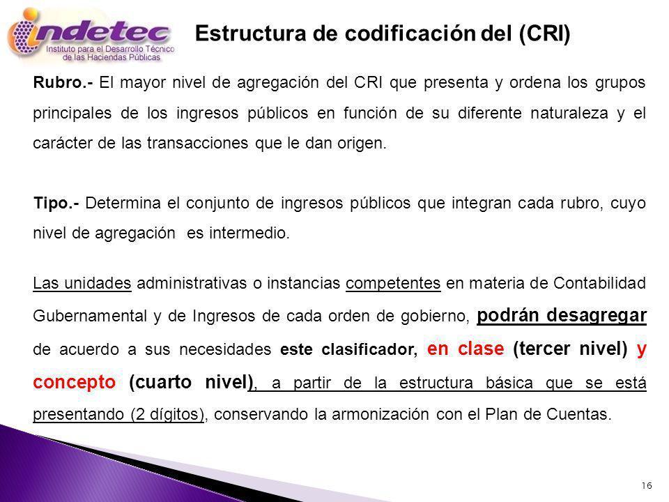 16 Estructura de codificación del (CRI) Rubro.- El mayor nivel de agregación del CRI que presenta y ordena los grupos principales de los ingresos públicos en función de su diferente naturaleza y el carácter de las transacciones que le dan origen.