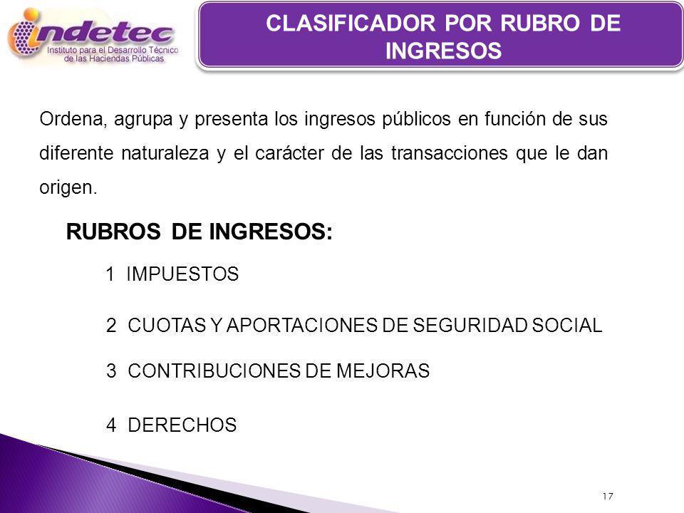 CLASIFICADOR POR RUBRO DE INGRESOS Ordena, agrupa y presenta los ingresos públicos en función de sus diferente naturaleza y el carácter de las transacciones que le dan origen.