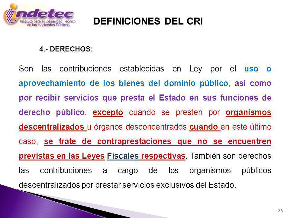 28 Son las contribuciones establecidas en Ley por el uso o aprovechamiento de los bienes del dominio público, así como por recibir servicios que prest