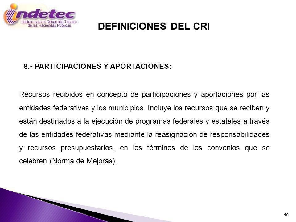40 Recursos recibidos en concepto de participaciones y aportaciones por las entidades federativas y los municipios.