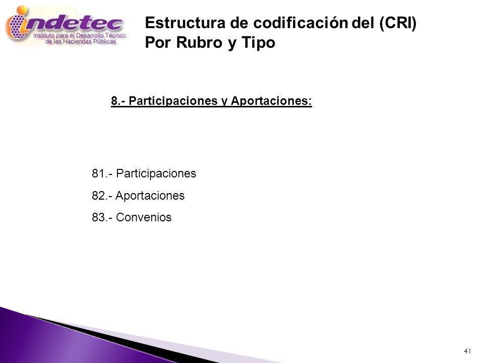 41 81.- Participaciones 82.- Aportaciones 83.- Convenios Estructura de codificación del (CRI) Por Rubro y Tipo 8.- Participaciones y Aportaciones: