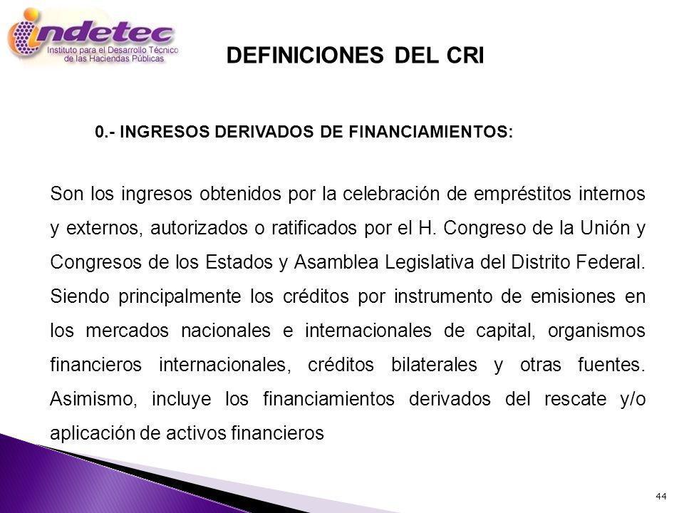 44 Son los ingresos obtenidos por la celebración de empréstitos internos y externos, autorizados o ratificados por el H. Congreso de la Unión y Congre