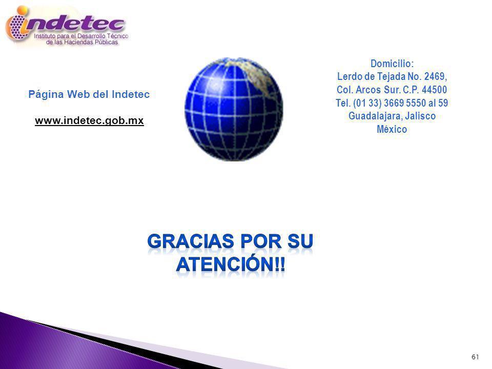 61 Página Web del Indetec www.indetec.gob.mx Domicilio: Lerdo de Tejada No. 2469, Col. Arcos Sur. C.P. 44500 Tel. (01 33) 3669 5550 al 59 Guadalajara,